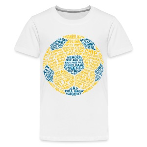 Soccer Ball Kids' Tank, Typography Blue, Yellow - Kids' Premium T-Shirt