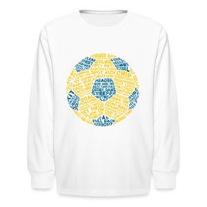 Soccer Ball Kids' Tank, Typography Blue, Yellow - Kids' Long Sleeve T-Shirt