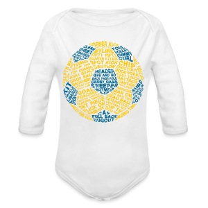 Soccer Ball Baby T-Shirt, Typography Blue, Yellow - Long Sleeve Baby Bodysuit