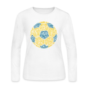 Soccer Ball Women's T-Shirt, Typography Blue, Yellow - Women's Long Sleeve Jersey T-Shirt