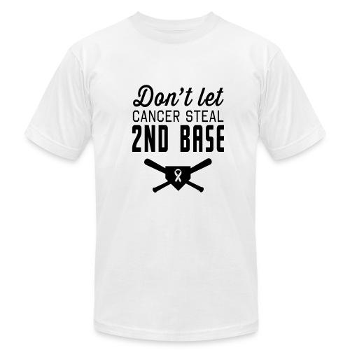 Don't let cancer steal 2nd base men's t-shirt - Men's Fine Jersey T-Shirt