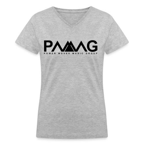 PMMG Official Logo - Gray/Black Women V-Neck - Women's V-Neck T-Shirt