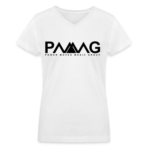 PMMG Official Logo - White/Black Women V-Neck - Women's V-Neck T-Shirt