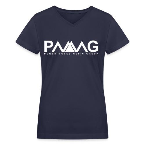 PMMG Official Logo - Navy/White Women V-Neck - Women's V-Neck T-Shirt