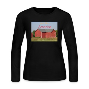 Women's long sleeved T-shirt 'God Bless America' - Women's Long Sleeve Jersey T-Shirt