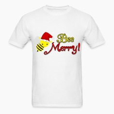 Bee Merry Christmas Holiday Bumblebee Santa Hat T-Shirts