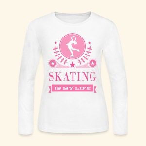 Ice Skating Pink and White Womens T-shirt - Women's Long Sleeve Jersey T-Shirt