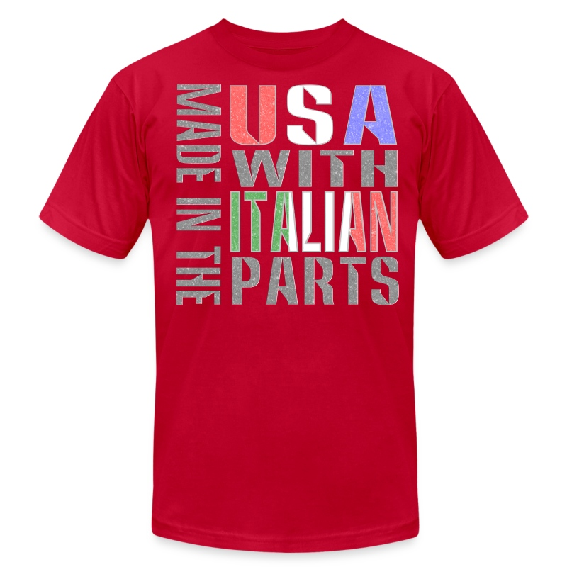 Made in usa italian parts t shirt spreadshirt for Shirts made in italy