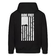 Hoodies ~ Men's Hoodie ~ S&S RIDE FREE U.S.A. WHITE