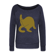 Long Sleeve Shirts ~ Women's Wideneck Sweatshirt ~ Gold Cat
