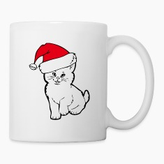 cat santa Bottles & Mugs
