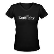 Women's T-Shirts ~ Women's V-Neck T-Shirt ~ Kentucky - Where Bourbon Outnumbers People Two to One