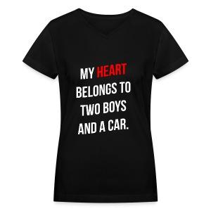 My Heart Belongs to 2 Boys - Women's V-Neck T-Shirt