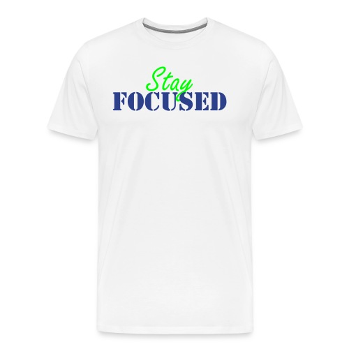 Stay Focused neon/royal blue - Men's Premium T-Shirt