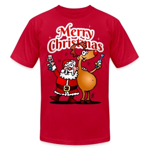 Merry Christmas - Santa Claus and his Reindeer - Men's T-Shirt by American Apparel