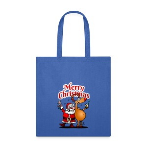 Merry Christmas - Santa Claus and his Reindeer - Tote Bag