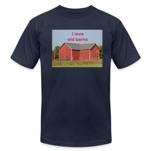'I love old barns' Men's slim fit T - Men's T-Shirt by American Apparel