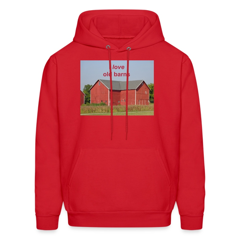 'I love old barns' Men's Hooded Sweatshirt - Men's Hoodie