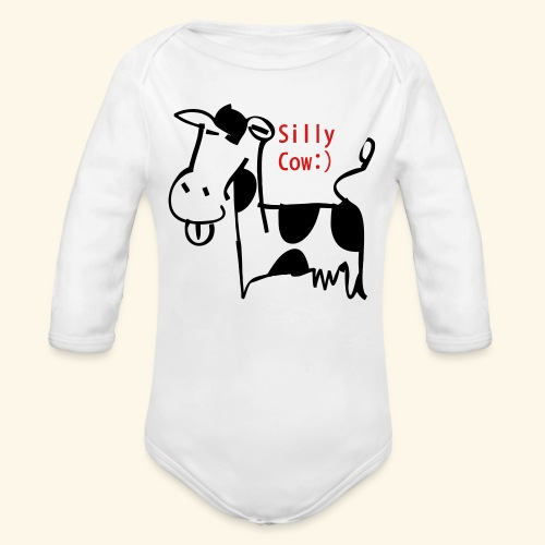 silly cow - Organic Long Sleeve Baby Bodysuit