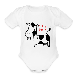 silly cow - Short Sleeve Baby Bodysuit