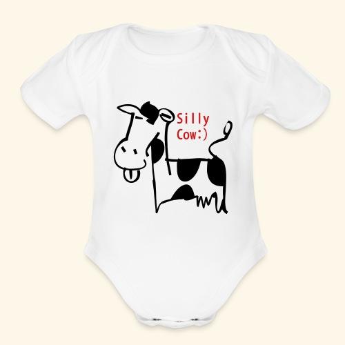 silly cow - Organic Short Sleeve Baby Bodysuit