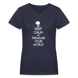 ISFP ~ Keep Calm and Treasure Your World Women's V-Neck - Women's V-Neck T-Shirt