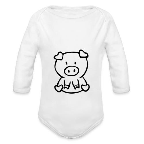 little piggie - Organic Long Sleeve Baby Bodysuit