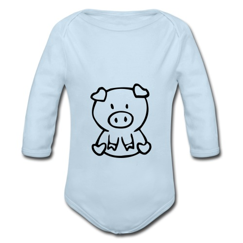 little piggie - Organic Long Sleeve Baby Bodysuit