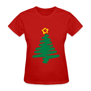 christmas tree with star - Women's T-Shirt