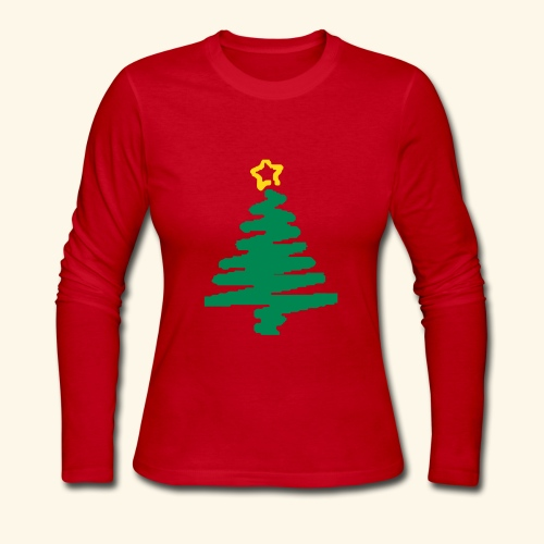 christmas tree with star - Women's Long Sleeve Jersey T-Shirt