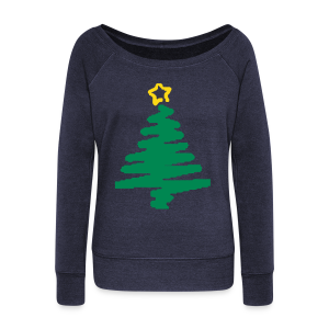 christmas tree with star - Women's Wideneck Sweatshirt