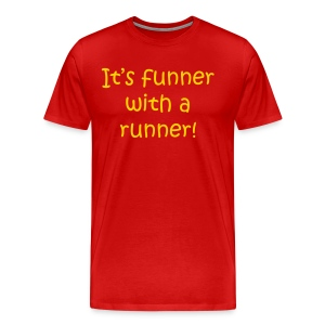 MENS RUNNING T SHIRT – FUNNER WITH A RUNNER - Men's Premium T-Shirt