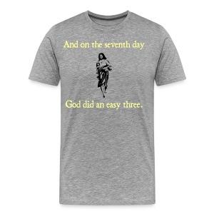MENS RUNNING T SHIRT – GOD EASY THREE - Men's Premium T-Shirt