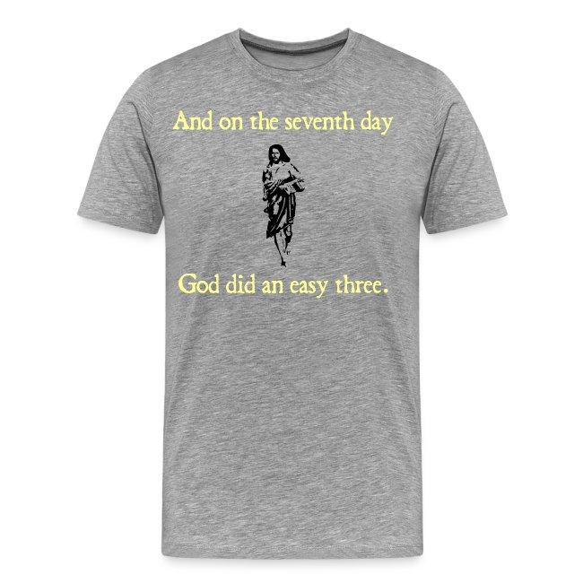 MENS RUNNING T SHIRT – GOD EASY THREE