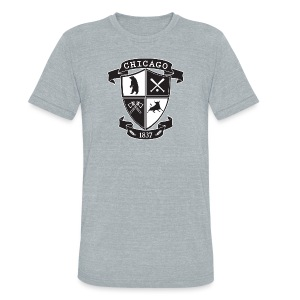 A Chicago Crest - Unisex Tri-Blend T-Shirt by American Apparel