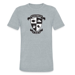 A Wisconsin Crest - Unisex Tri-Blend T-Shirt by American Apparel