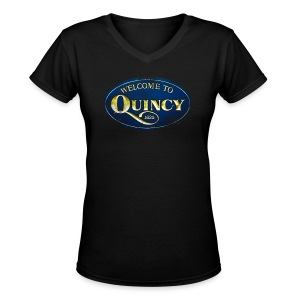 Quincy, Mass - Women's V-Neck T-Shirt