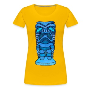 Womens Fitted Blue Hawaiian Tiki Tee - Women's Premium T-Shirt