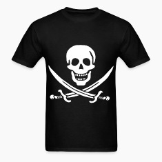 Jolly Roger Pirate Tee - Skull and Crossbones Pira