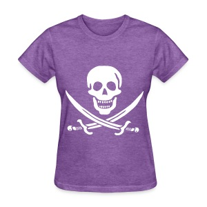 Jolly Roger Pirate Womens Tee - Skull and Crossbones Pirate Design Logo - Women's T-Shirt
