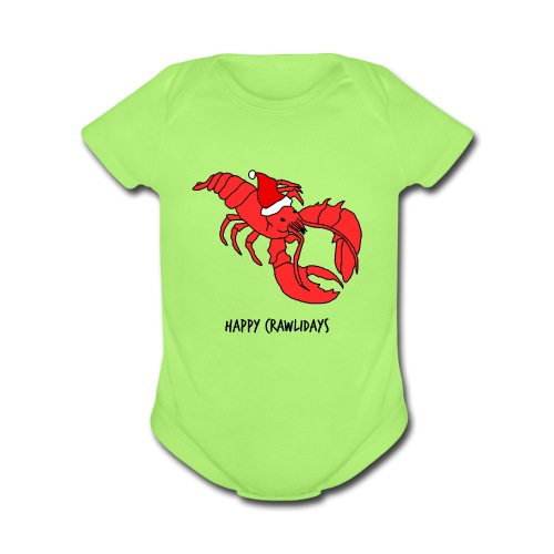 Happy Crawlidays - (Baby's  ) - Short Sleeve Baby Bodysuit