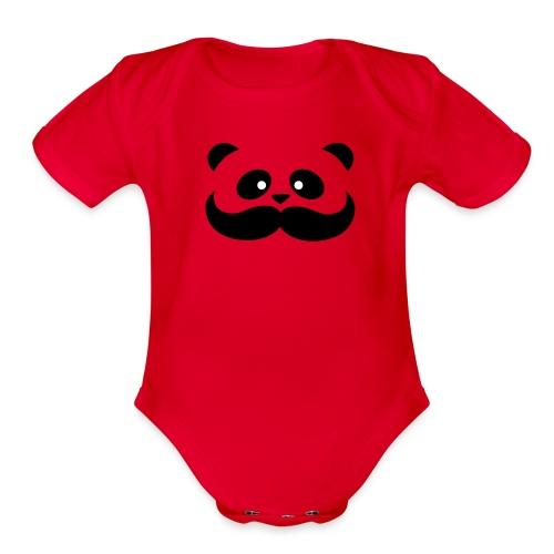 Moustache Panda Hug Onesie - Organic Short Sleeve Baby Bodysuit