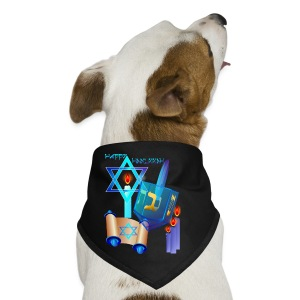Blue Glass Dreidel-Happy Hanukkah - Dog Bandana