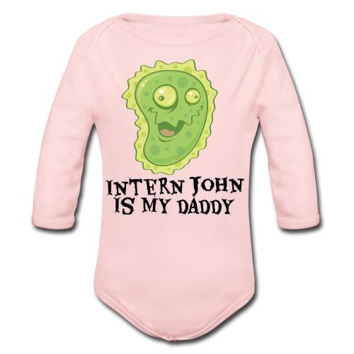 Intern John Is My Daddy One-sie Pink - Organic Long Sleeve Baby Bodysuit