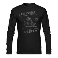 Long Sleeve Shirts ~ Men's Long Sleeve T-Shirt by Next Level ~ Original Rebel - Men's Gray Long Sleeve