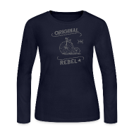 Long Sleeve Shirts ~ Women's Long Sleeve Jersey T-Shirt ~ Original Rebel - Women's Gray Long Sleeve