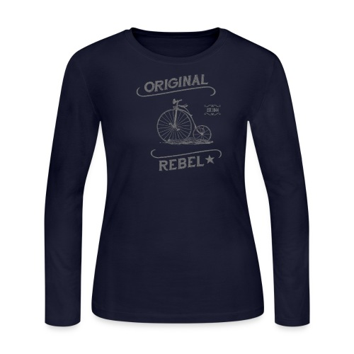 Original Rebel - Women's Gray Long Sleeve - Women's Long Sleeve Jersey T-Shirt