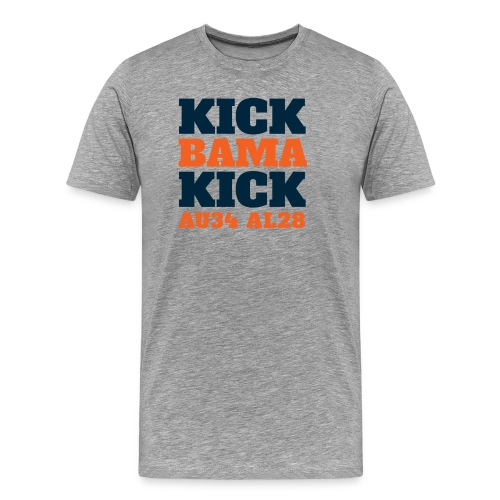 Kick Bama Kick - Short Sleeve - Heather Gray - Men's Premium T-Shirt