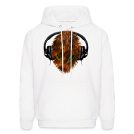 Hoodies ~ Men's Hoodie ~ Hoodie with Cuddly Furry Alien DJ in Headphones