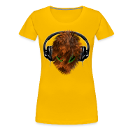T-Shirts ~ Women's Premium T-Shirt ~ T shirt for her - Cuddly Fury Alien DJ with Headphones